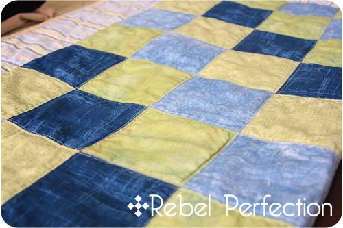 Blue Blocks Quilt Close-up 2