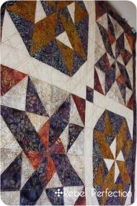 Batik XO quilt front closeup