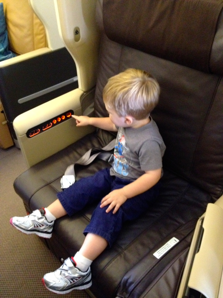 pushing buttons on airplane