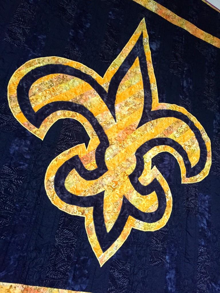 New Orleans Saints Quilt Front Detail 1