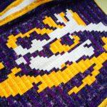 LSU Pixel Quilt Tiger Eye Closeup