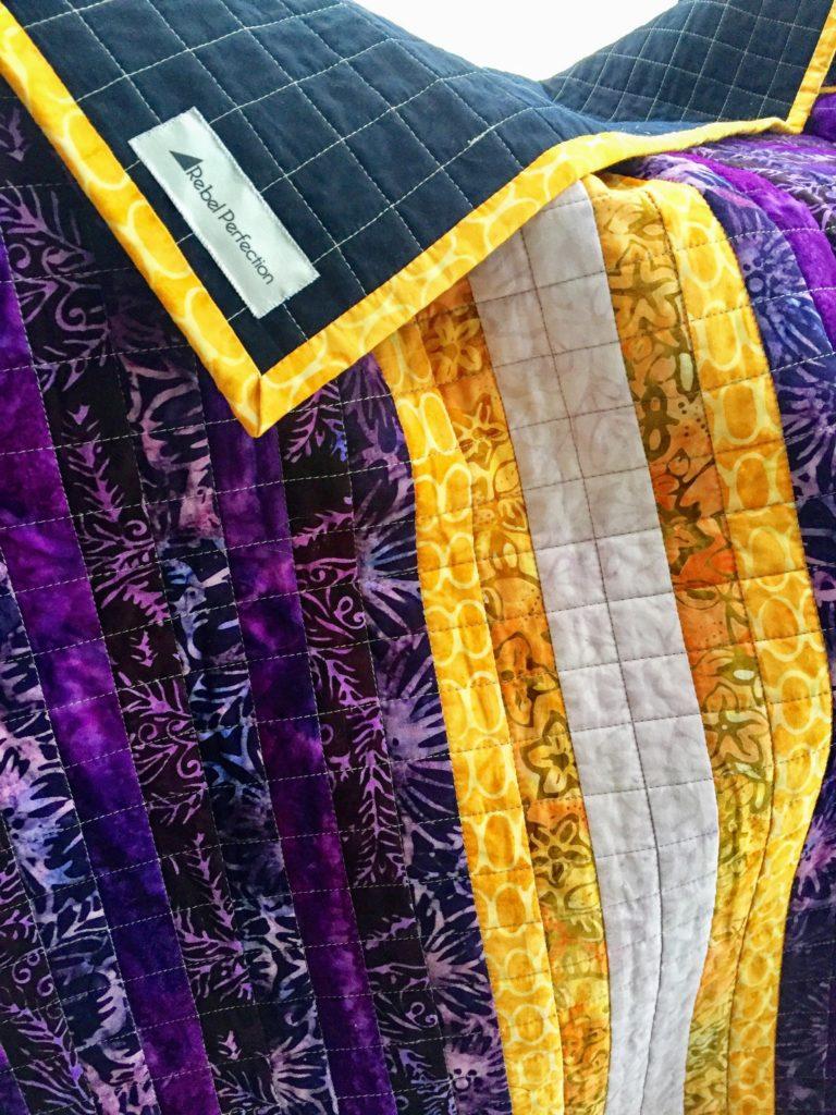 LSU Pixel Quilt Batik Stripes